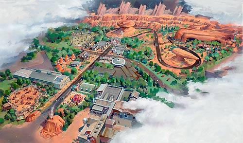 Artists rendition of Cars Land Disneyland CA