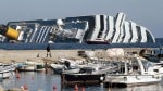 Costa Concordia on it's side in Italy