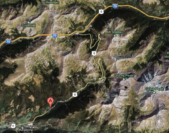 google map - Loveland Pass Colorado