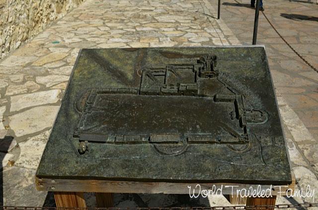 Bronzed plaque of the Alamo San Antonio