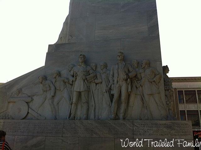 Monument in front of the Alamo San Antonio