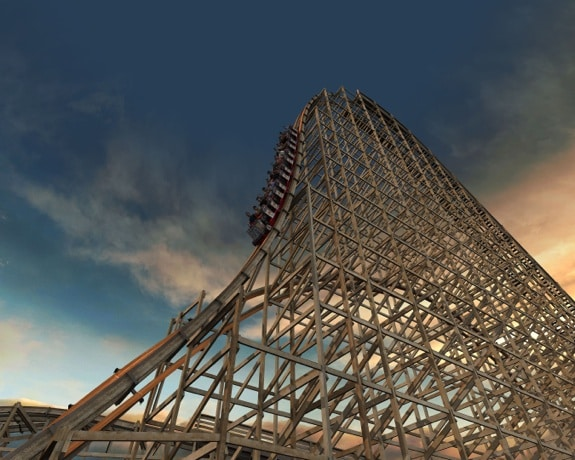 Spring Six Flags Great America wooden coaster Goliath