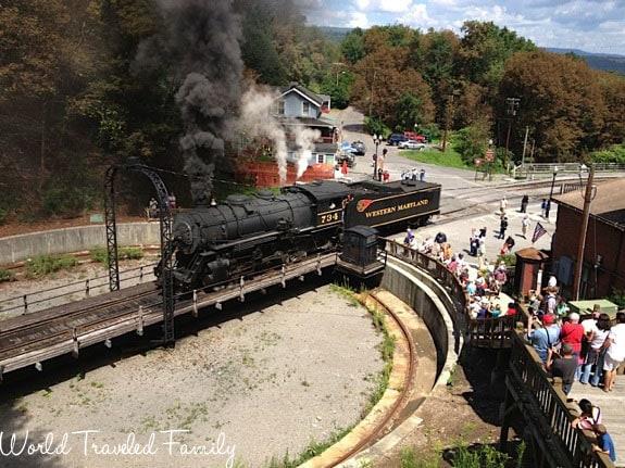 Western Maryland Scenic Railroad - train entering turntable