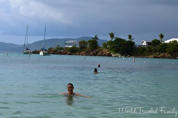 St. Thomas Kon Tiki Boat Tour - me swimming at the beach on water island