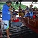 St. Thomas Kon Tiki Boat Tour - the crew doing the limbo