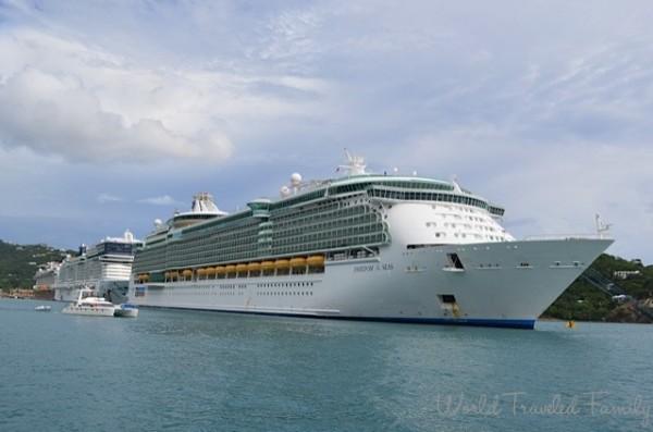 St. Thomas Kon Tiki Boat Tour - view of Freedom of the Seas