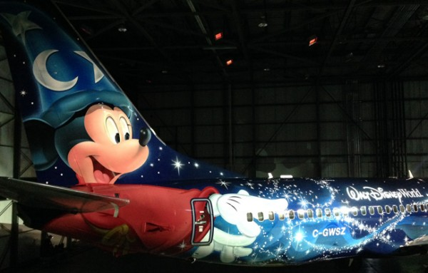 WestJet's Magic Plane with Mickey Mouse