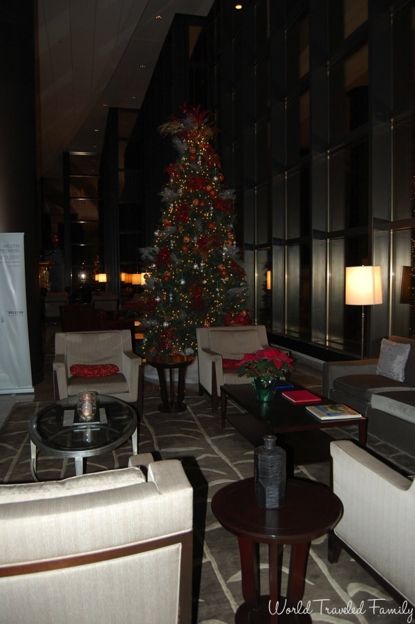 Westin Southfield Detroit  - lobby decorated for the holidays