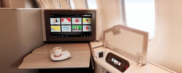 Air Canada 787 Dreamliner Business class flat screen tv