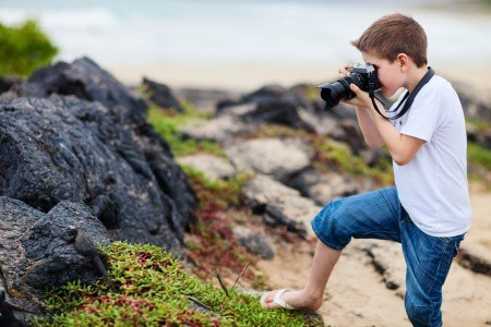 boy photographing vacation