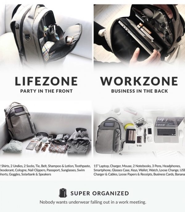 Lifepack - Solar Powered & Anti-Theft Backpack - work and life