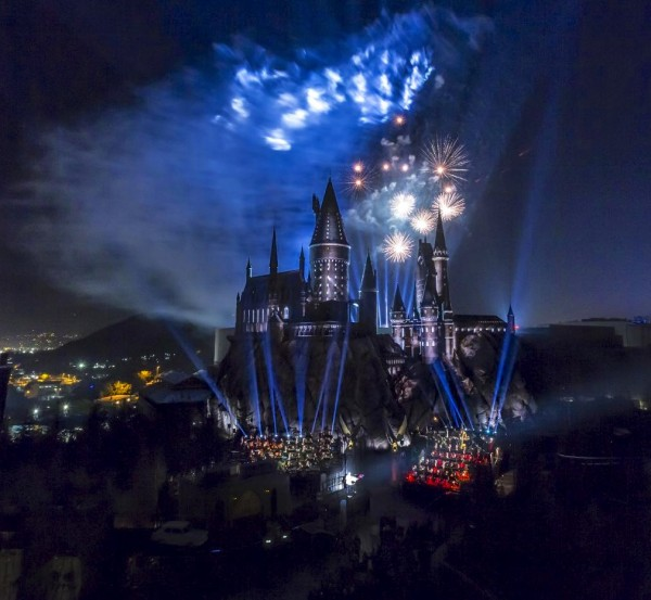 fireworks over the castle at Universal Hollywood Studios Wizarding World Of Harry Potter