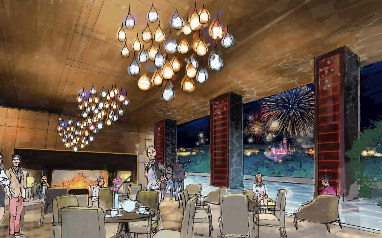 New Disneyland hotel rendering - rooftop restaurant view