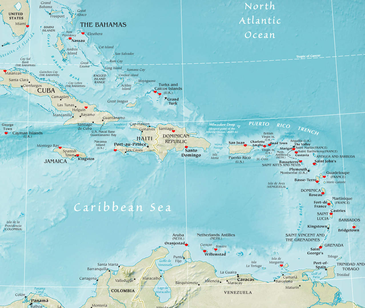 My-Travel-Map---the-Caribbean