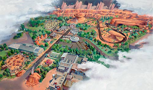 Artists rendition of Cars Land Disneyland CA