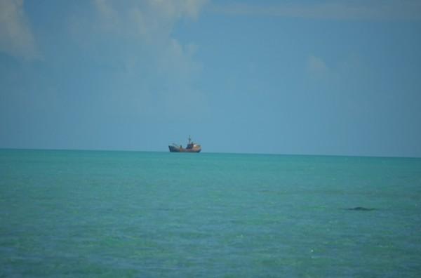 Ship off shore, Long Bay Beach, Providenciales