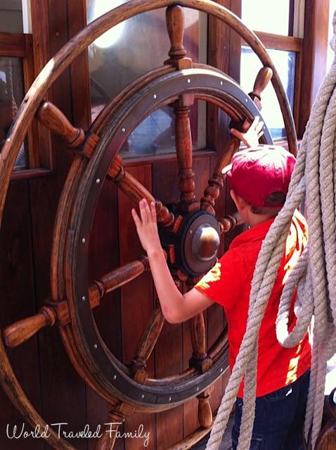 Steering the ship - STV Unicorn tall ship tour