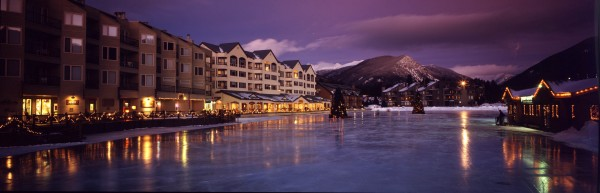 Winter scenic of Keystone's Lakeside Vilage.  pano.