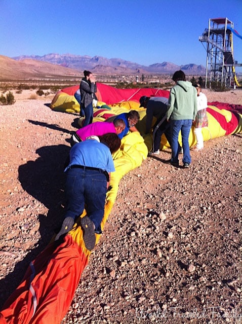 folding the balloon up - Vegas Balloon Ride