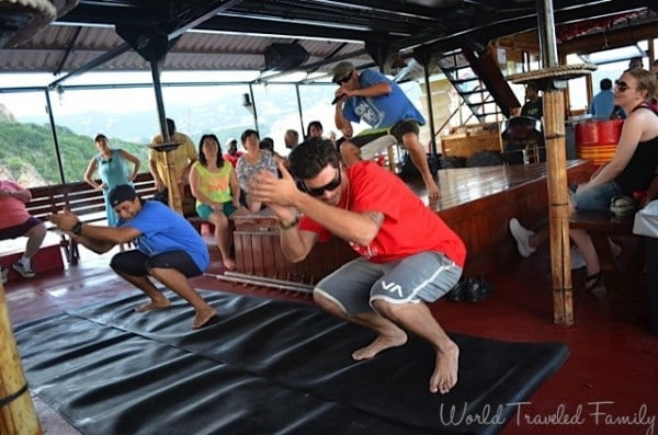St. Thomas Kon Tiki Boat Tour - the crew getting down