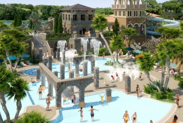 Artist's rendering of Explorer Island, a pool area at the Four Seasons Resort Orlando