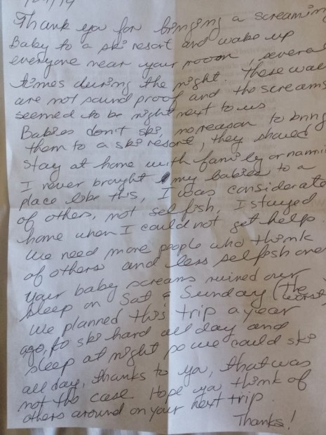 Vacationing Couple Leaves Nasty Letter for Parents of 'Screaming' Baby