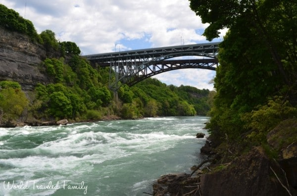 White Water Walk in Niagara Falls - view of WHirlpool Bridge
