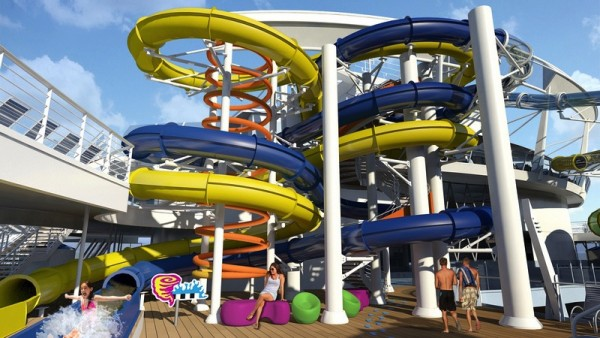 Harmony of the Seas water slides Supercell, Typhoon and Cyclone