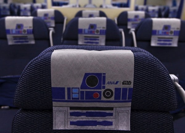 Nippon airlines Star wars R2D2 airplane - interior