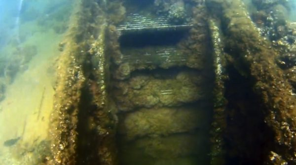 Underwater ROV Looking at Stairs USS Arizona