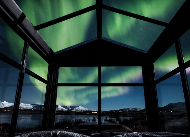 Panorama Glass Lodge Iceland - northern lights